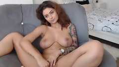 Brown haired chick BadassBitch_ with juicy tight boobs is stuffing pussy with vibrator