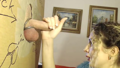 Sexy small boobed MyAlisaFox is doing tight blowjob to glory hole big dick