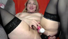 Awesome hot blonde fat milf Viollahot in black stockings is masturbating ass and pussy with big dildo