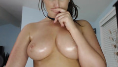 Appetizing juicy brunette Brielle is showing off her big tight butt and big juicy boobs to the webcam
