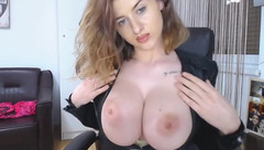 Adorable brown haired Milo_Rose is showing off her big juicy natural boobs to the webcam