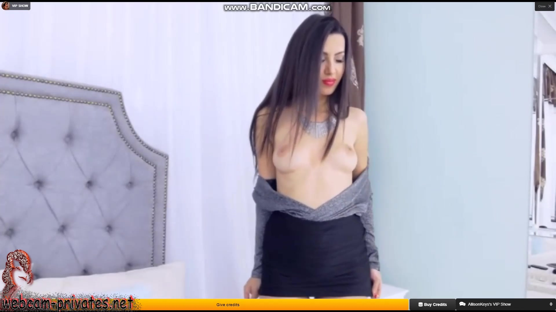 Alluring sexy shaped brunette Allisonkeys is showing off her tight small boobies and yummy butt