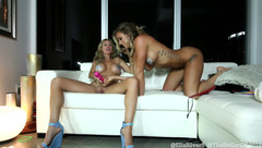 Impressive hot blonde lesbian girlfriends TheStellarGF are licking off and masturbating