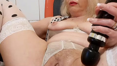 Fatty mature lady AngelJenny is passionately masturbating shaved cunt with vibrator sex toys