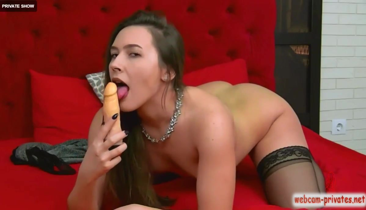 Gorgeous hot brown haired Ariahdevon sucking huge dildo and fucking shaved cunt