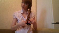 Long brown haired teen Bars377 is excitingly posing in black stockings white peignoir to the webcam