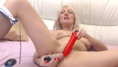 Chubby butt blonde MonnaSky is passionately fucking plump shaved cunt with vibrator dildo