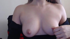 Precious young Evellines91 is having webcam sex chat and stroking pussy over black lace panties