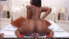 Stunning sexy black porn model AdaNicole is excitingly posing to the webcam nude and shaking big bubble butt