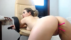 Bubble butt chick111Viagra  is stuffing ass and cunt with vibrator sex toys and bending over in doggy pose