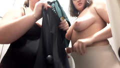 Horny plump milf chicks Rosewinexxx are undressing and showing tits to hidden webcam