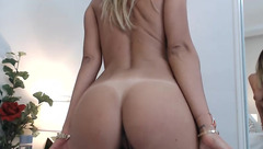 Webcam model Adanah shows off tan lines on her beautiful tanned booty