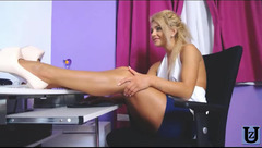 Pretty blonde Michellesweet masturbating with red vibrator
