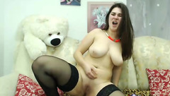 Big-bosomed MissisXX toys herself till she reaches an earth shattering orgasm