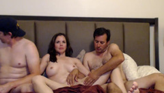 Crazycajuns: Mature brunette fucks with two men