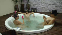 Three lesbian bitches are fondling their boobs in Jacuzzi