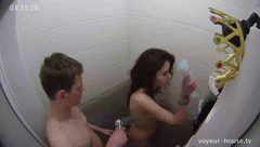 Cute brunette Katie is taking shower with handsome Phil