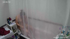 Plump Eva is taking shower with Mark and stroking her tight pussy when he leaves