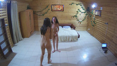 Skinny slender brunette girlfriends Lena and Katie are hotly dancing in front of the camera