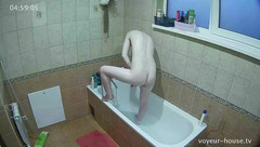 Appetizing sexy blonde with chubby butt is washing up in shower